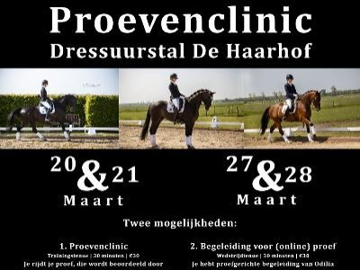 twee weekenden Proevenclinic eind maart 2021